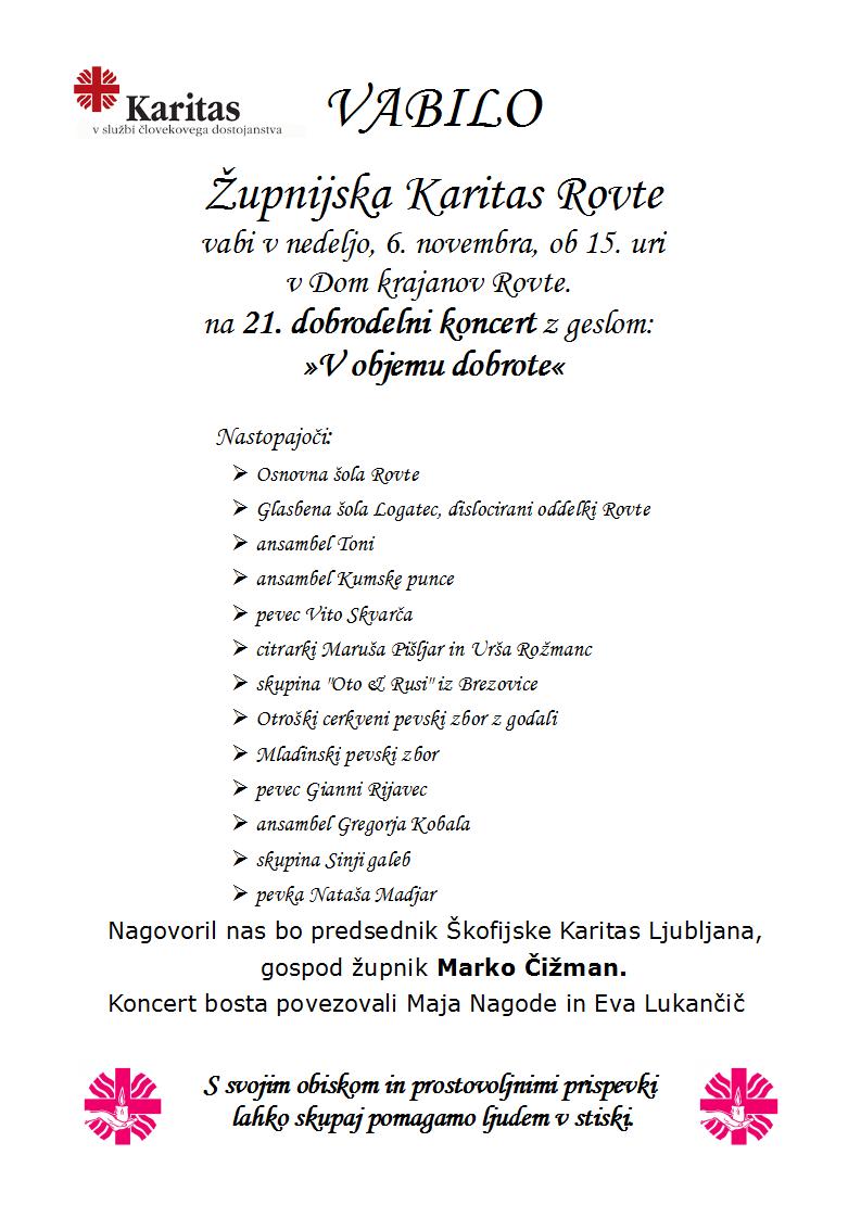 Dobrodelni Koncert Karitas Rovte 6. 11. 2016