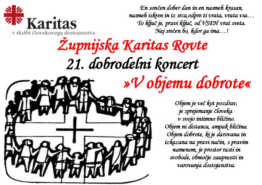 Župnijska Karitas Rovte 21. dobrodelni koncert »V objemu dobrote«