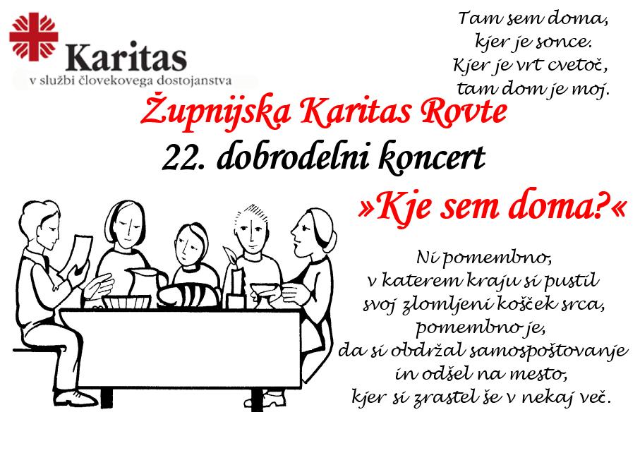 Župnijska Karitas Rovte 22. dobrodelni koncert »Kje sem doma?«
