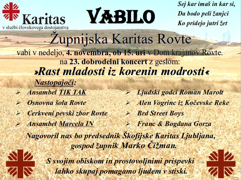 23 Dobrodelni koncert Zupnijske Karitas Rovte 4. November 2018