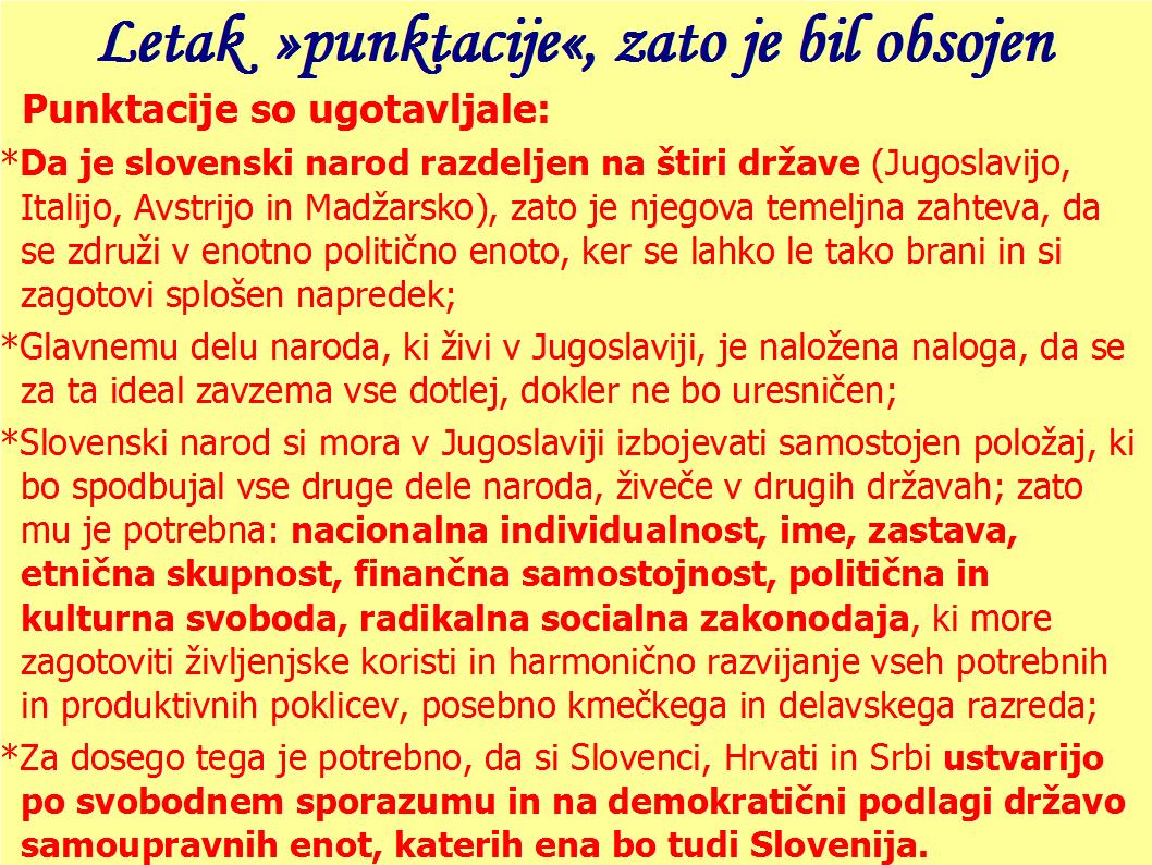 Letak  »punktacije«, zato je bil Janez Hladnik obsojen, Zavzemal se je za samostojnejšo Slovenijo