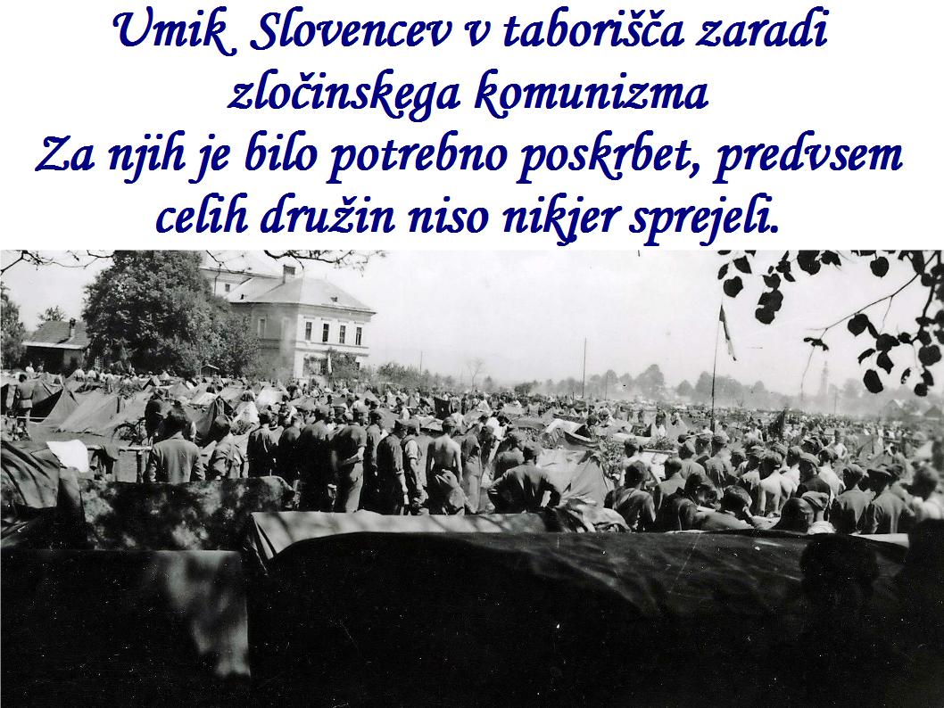 Umik Slovencev v taborišča zaradi zločinskega komunizma Za njih je bilo potrebno poskrbet, predvsem celih družin niso nikjer sprejeli.