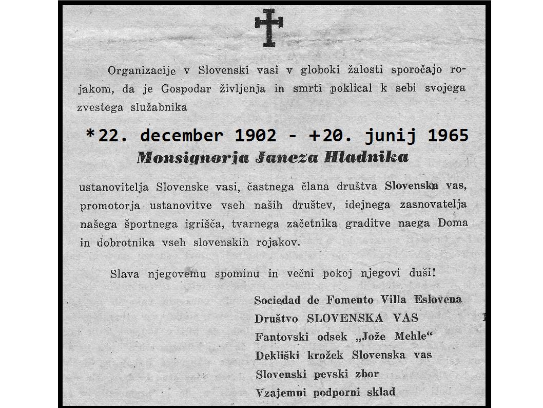 Janez Hladnik umrl v nedeljo 20. junija 1965