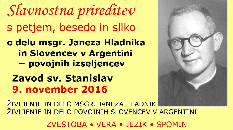 Hladnikov večer zavod sv. Stanislav 9. november 2016