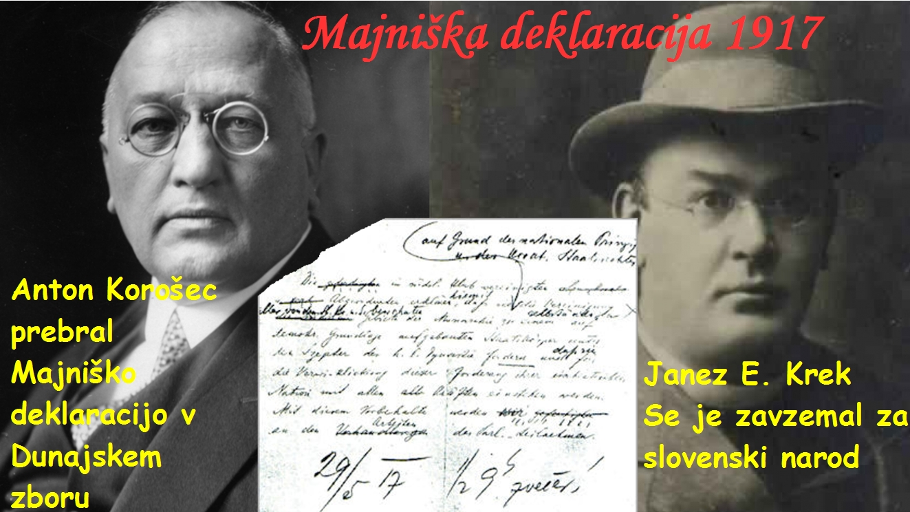 Majniška deklaracija ki jo je v Dunajskem zboru pprebral Anton Korošec