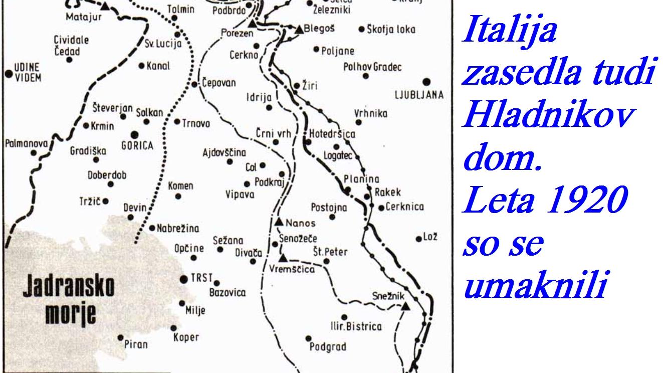 Italija zasedla tudi Hladnikov dom