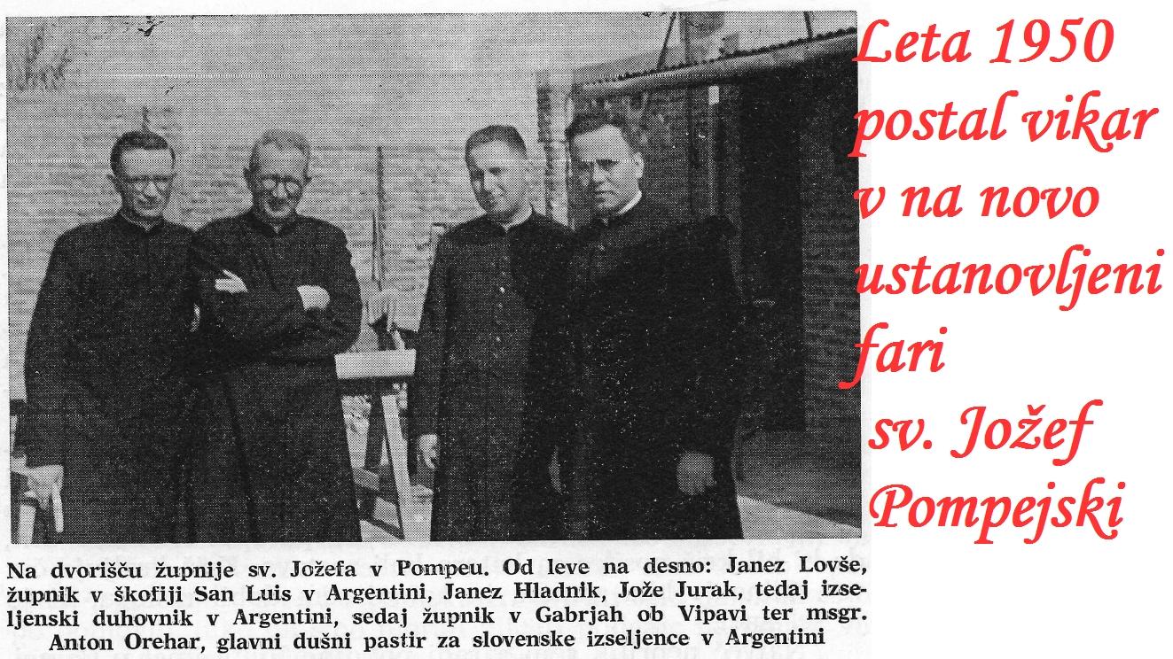 """kapelica sv. Jožefa, ki ji je dal krajevni župnik pridevek """"de Pompeo"""". Tam je Hladnik zaoral ledino. Gradnja cerkve, prosvetnega doma, šole, cest in vse ostale infrastrukture. Ustanovljena je bila nova župnija: """"San José de Pompeo""""."""
