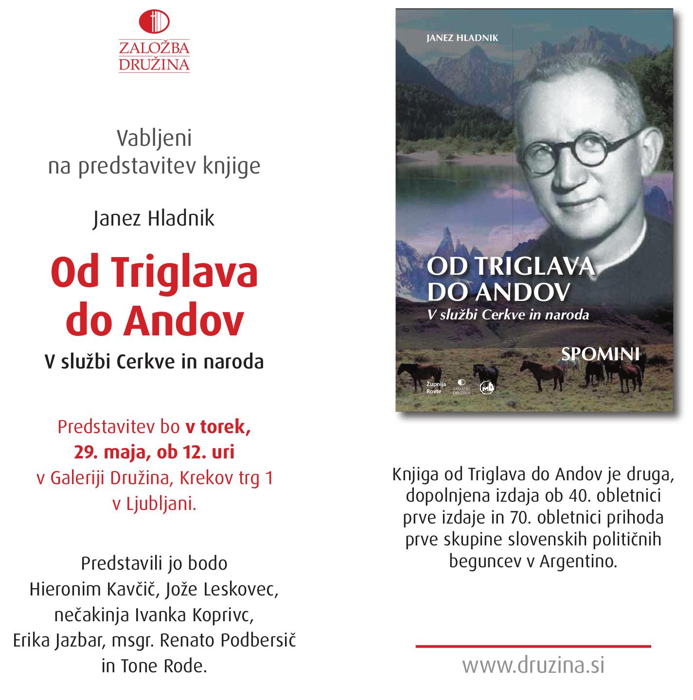 Predstavitev ponatisa knjige Od Triglava do Andov, msgr. Janez Hladnik