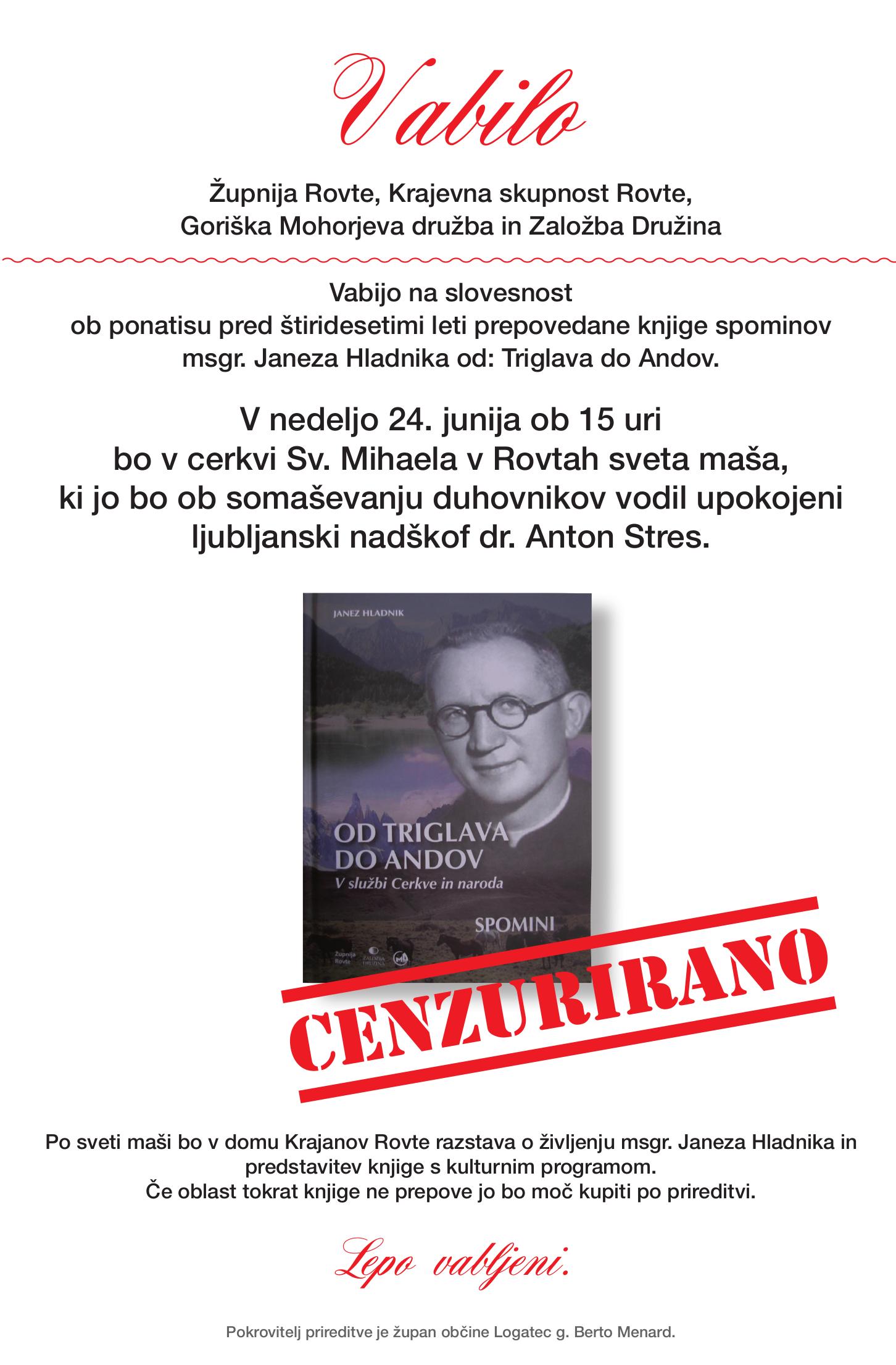 Slovesmnost ob izidu knjige Od Triglava do Andov, msgr. Janez Hladnik